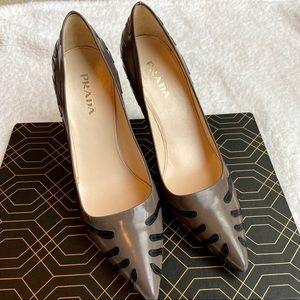 Prada Leather Zebra Print Heels Women's Size 8